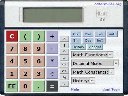 Ostermiller Basic and Scientific Calculator